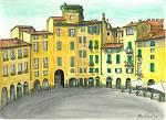 Piazza anfiteatro a Lucca - silvia diana - China e acquerello - 200 €