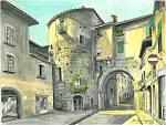 Porta dei borghi a Lucca - silvia diana - China e acquerello - 250 €
