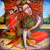 """Colombina""( ciclo "" I Giullari"") - Viktoriya Bubnova - Olio - Venduto!"