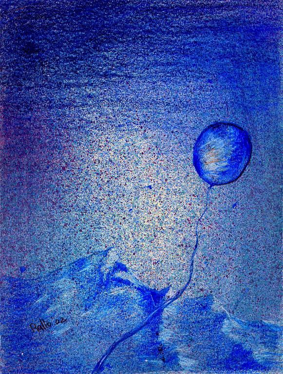 paesaggio in blu con palloncino - vendita quadro pittura ...