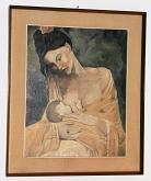 riproduzione della maternità di Pablo Picasso - Angelo Colletta - Olio