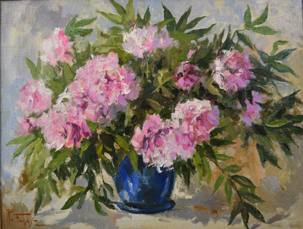 Quadri Con Ortensie : Rosa e blu peonie vendita quadro pittura artlynow