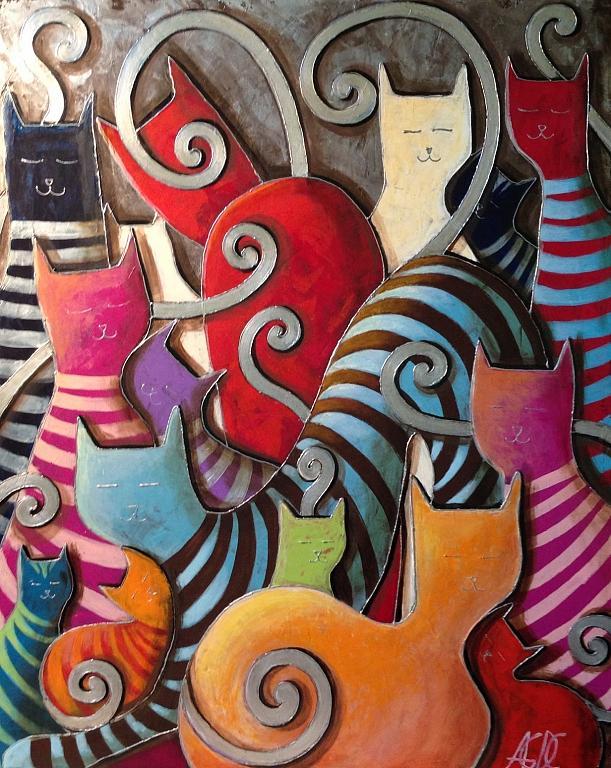 Gatti in colore vendita quadro pittura artlynow - Olio di ruta repellente gatti ...