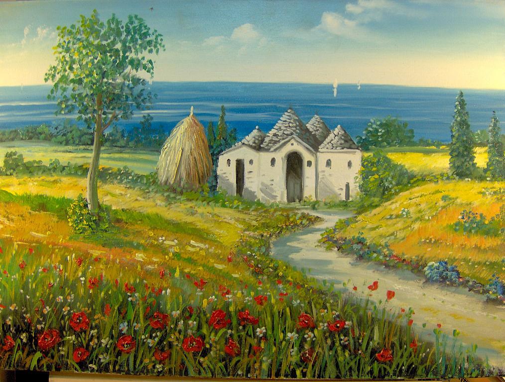 paesaggio puglia il trullo vendita quadro pittura artlynow. Black Bedroom Furniture Sets. Home Design Ideas