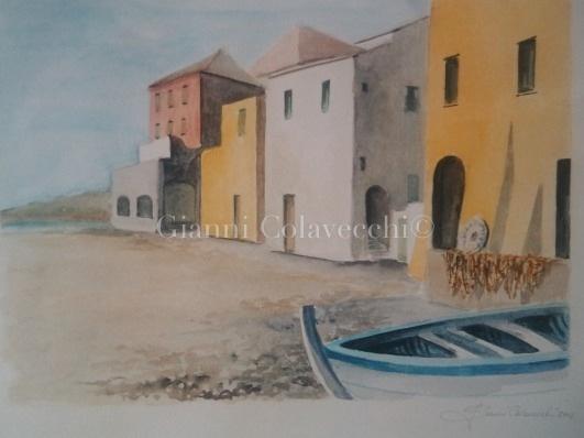 Genova case dei pescatori con barca vendita quadro for Piani di casa sulla spiaggia contemporanea