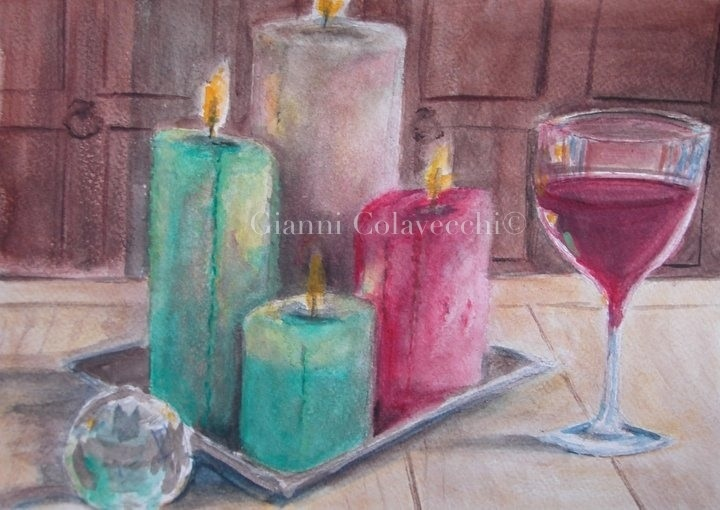 Candele colorate vendita quadro pittura artlynow for Candele colorate