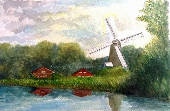 Olanda, mulino a vento  - Gianni Colavecchi - Acquerello