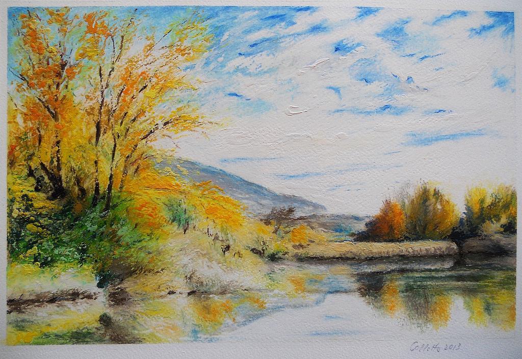 Paesaggio con lago vendita quadro pittura artlynow for Paesaggi semplici da disegnare