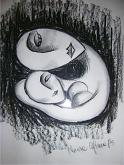 mamma con bambino - Marisa Caprara - Carboncino