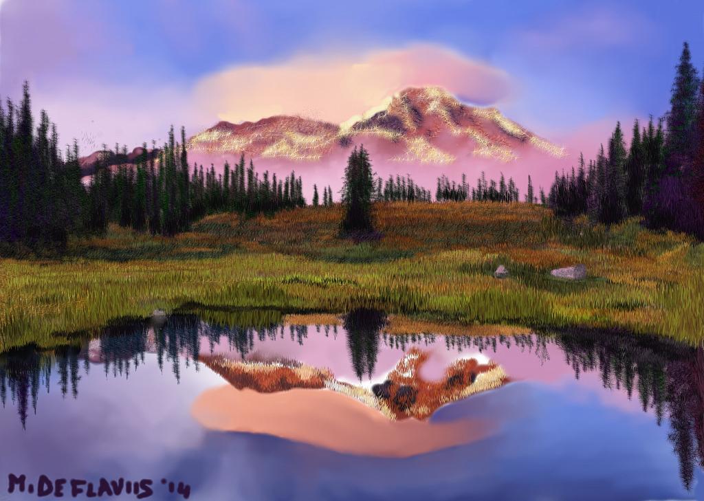 Laghetto di montagna al tramonto vendita quadro pittura for Immagini di laghetti