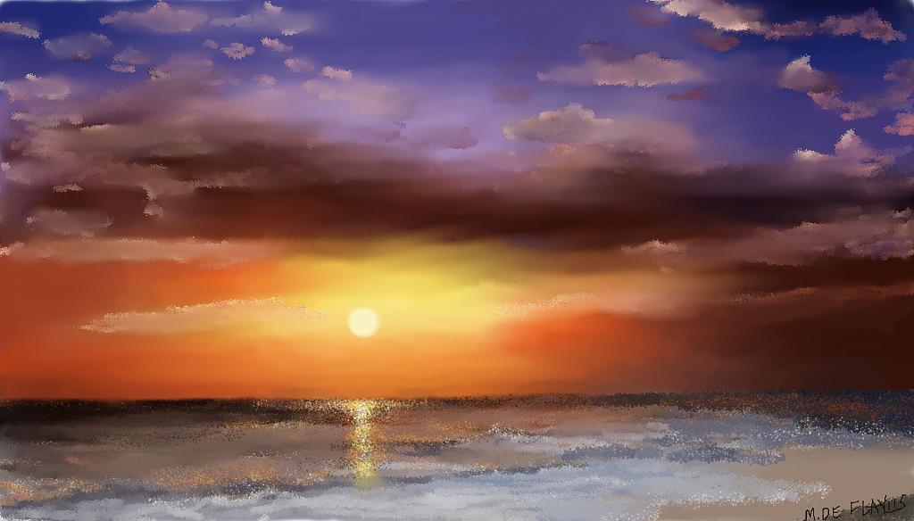 Eccezionale Alba di mare - vendita quadro pittura - ArtlyNow DP02