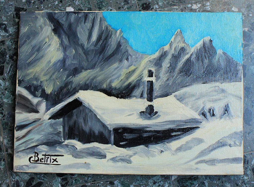 Neve sul chalet vendita quadro pittura artlynow for Disegni di chalet svizzeri