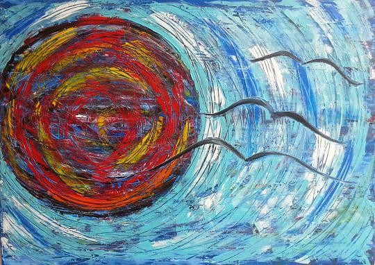 Stormo d'uccelli neri - Girolamo Peralta - Olio - 850 €