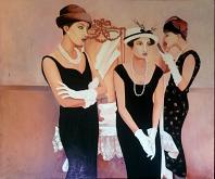 3 donne chic - Marisa Caprara - Acrilico