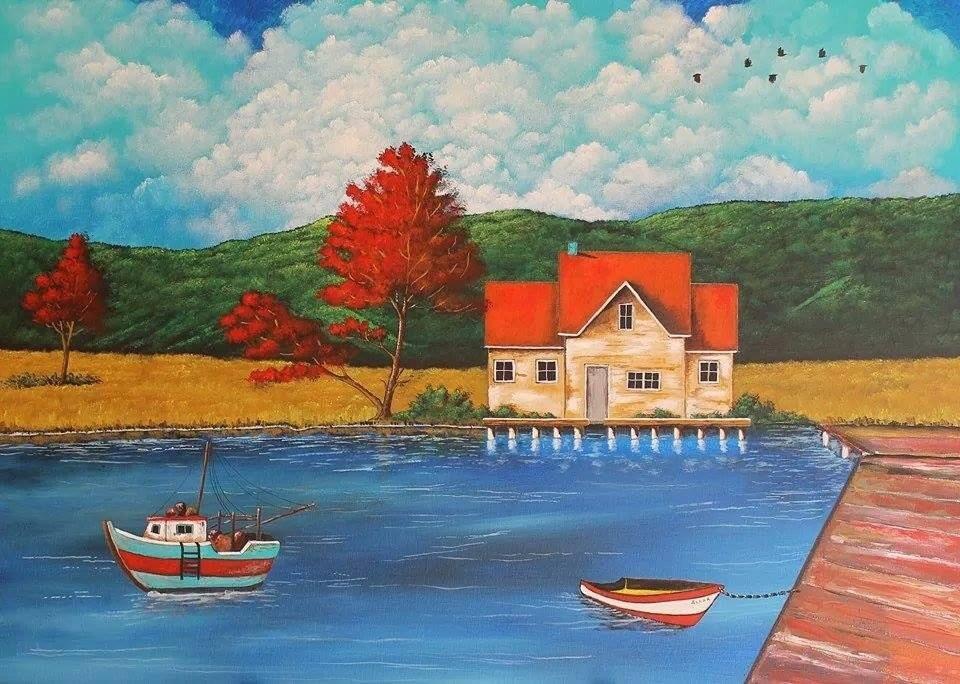 La casa sul lago vendita quadro pittura artlynow for Casa sul lago a 2 piani