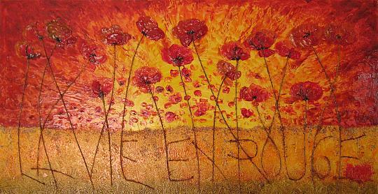 La vie en Rouge - Andreea Pricop - materica, resina bicomponente su tela