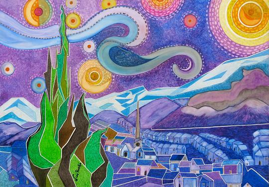 Notte stellata - nino reale - Acquerello