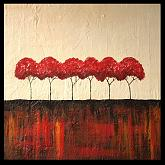 """alberi in rosso"" - aliz polgar - gesso-acrilico - 150€ - Venduto!"