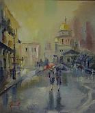 In una giornata di pioggia - Silvia Tschauschev - Olio - 100€ - Venduto!