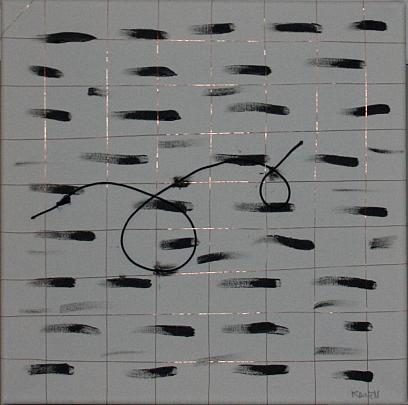 la gabbia - giuseppe grechi - acrilico ,spago elastico ,filo di rame - 100 €