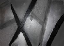 strade differenti - giuseppe grechi - acrilico ,nastro adesivo.rete,filo di ferro - 200€