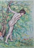 """""""Donna nuda nel bosco"""" Spedizione gratuita - Pietro Dell Aversana - Pastelli - 185€"""