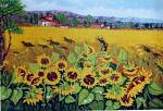Paesaggio con girasoli - Pietro Dell Aversana - Olio - 270 €