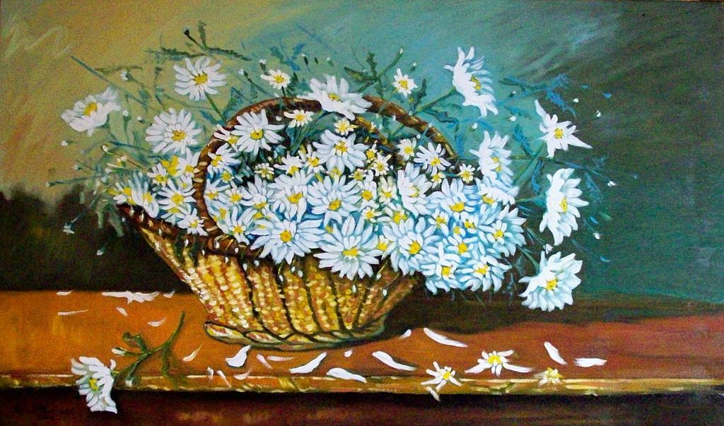 Margherite bianche - Pietro Dell Aversana - Olio
