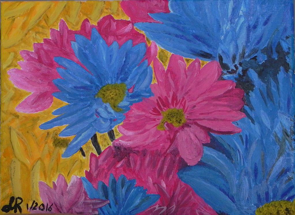 Fiori colorati vendita quadro pittura artlynow for Fiori stilizzati colorati