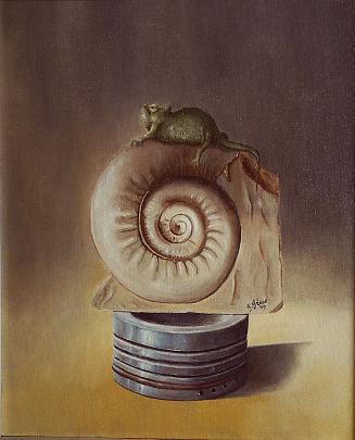 Composizione con camaleonte - GIOVANNI GRECO - Olio - 650 €