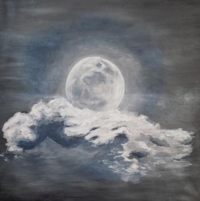 """""""  Ce soir, la Lune re^ve..  """"  ( Questa sera, la Luna sogna.. ) - Luana Marchisio - Olio - 120 €"""