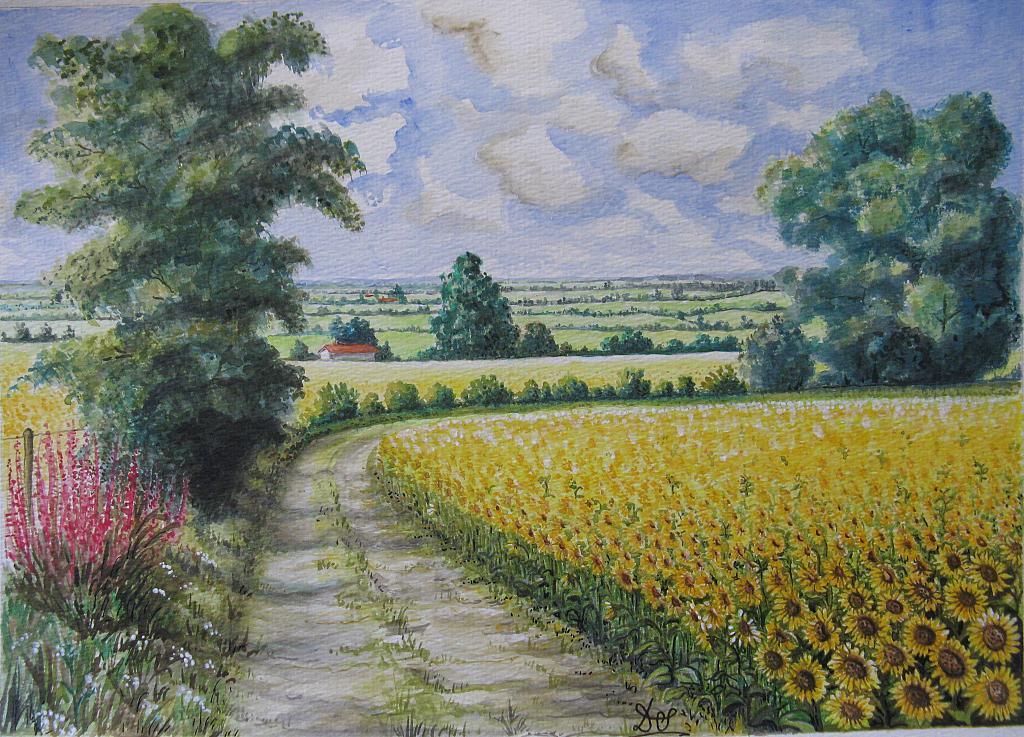 Popolare PAESAGGIO CON GIRASOLI - vendita quadro pittura - ArtlyNow XA52