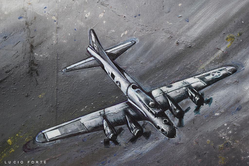 Boeing B-17E (particolare) - Lucio Forte - Acrilico, olio, tempera, pigmento, china pantone su tavola - 850 €