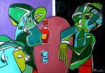 Tre marziani in supposizione - Gabriele Donelli - Olio