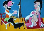 Le peintre et son modèle - Gabriele Donelli - Acrilico