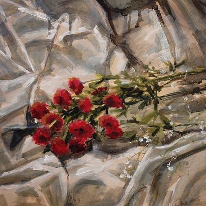 fiori rossi su bianco - elisa marmo - Olio - 150,00 €