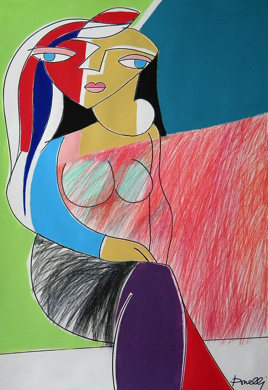 Donna seduta - Gabriele Donelli - Pastelli e acrilico