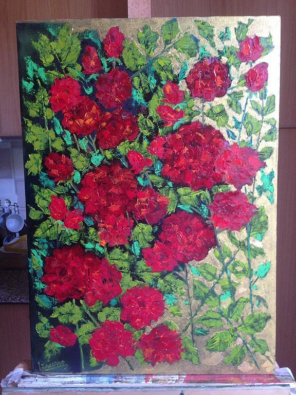 Rose e oro - loretana zaccaro - Olio