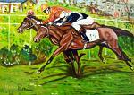 Corsa di cavalli - Pietro Dell Aversana - Olio - 100 €