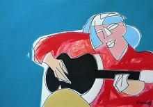Ragazza con la chitarra - Gabriele Donelli - Pastello e acrilico - Venduto!