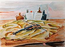 acquerello, natura morta, bottiglie e violino - Gianni Chiminazzo - Acquerello