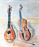 acquerello, strumenti musicali, la cetra e viola - Gianni Chiminazzo - Acquerello