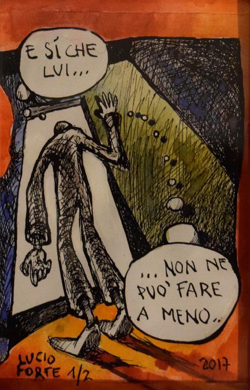 He can't give it up - Lucio Forte - Acquerello su Xerocopia - 60 €