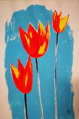 Vendita quadri olio dipinti vendita quadri online pittori for Tulipani arancioni
