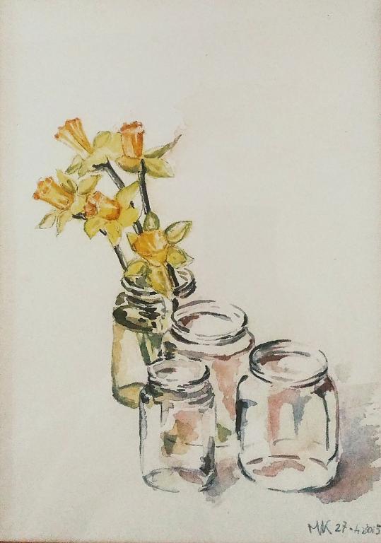 Narcisi in vaso - Caterina Martinetto - Acquerello - 90,00 €