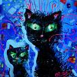 gatti neri - Olga  Polichtchouk - Acrilico - 180€