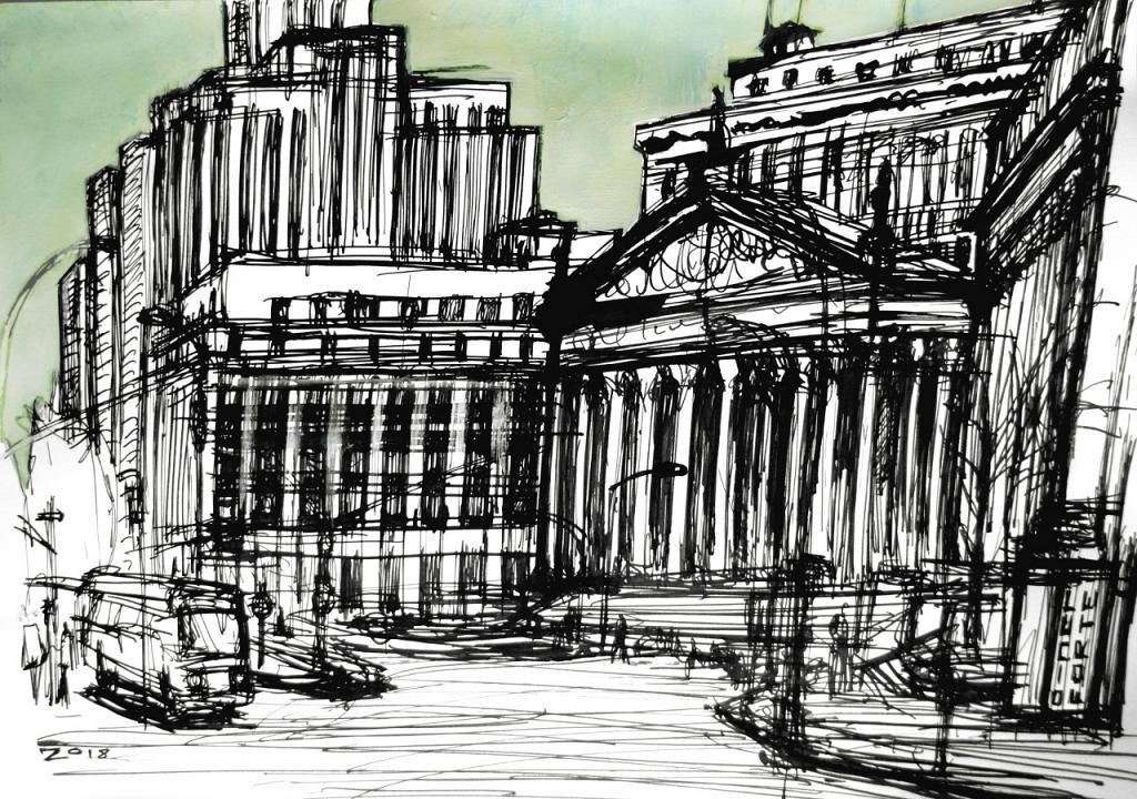 Tribunale di New York - Lucio Forte - China ed Acrilico su Carta - 100 €