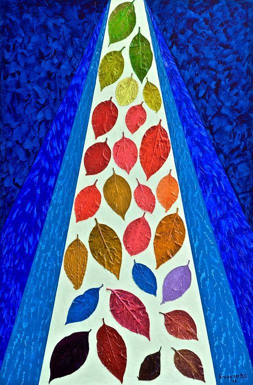 La caduta dei sogni - GRECO Bruno - Acrilico, foglie e resina