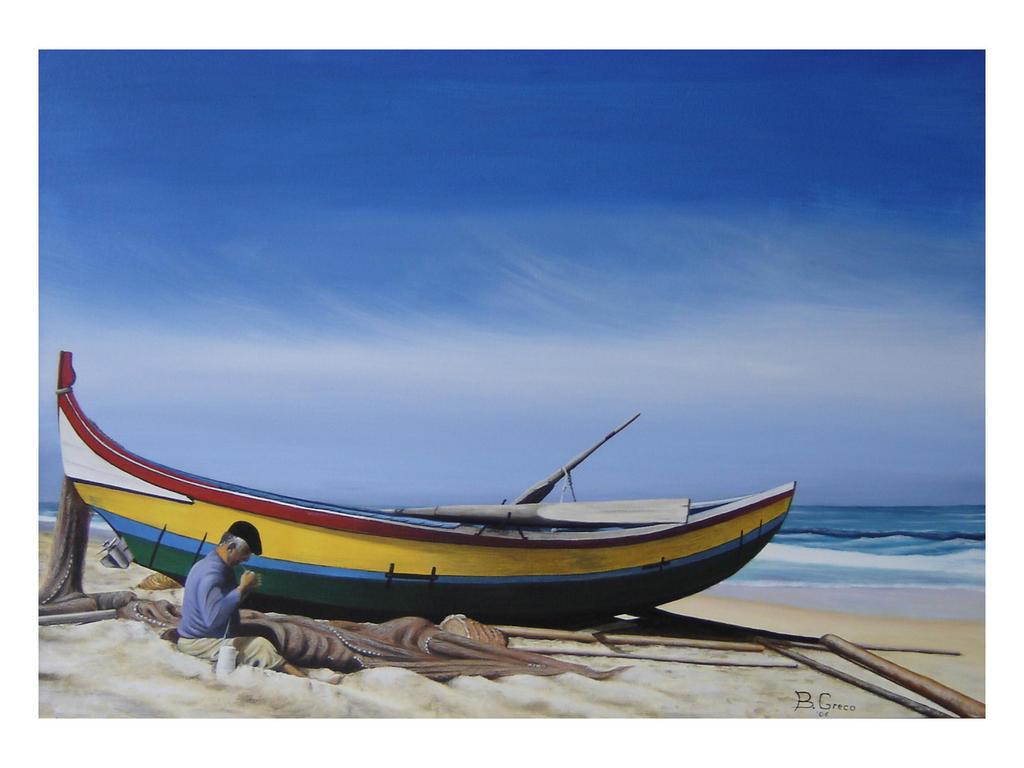 La barca ed il pescatore - GRECO Bruno - Olio