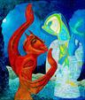 Demone innamorato - Costantino Canonico - Olio